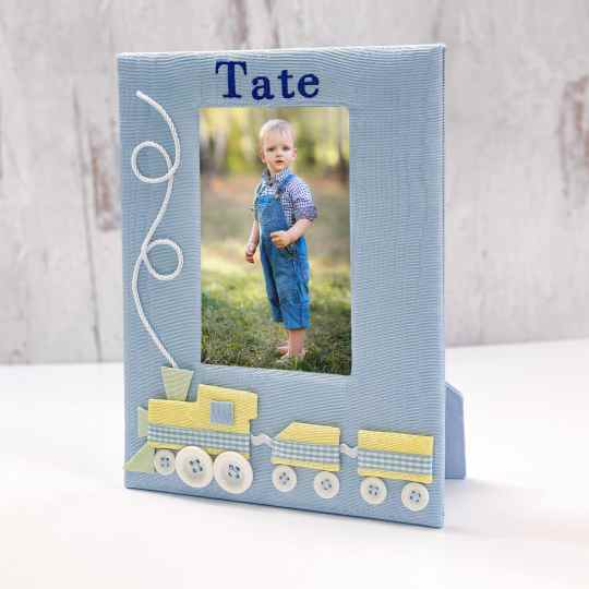 Baby Photo Frame In Moiré With Choo Choo Train