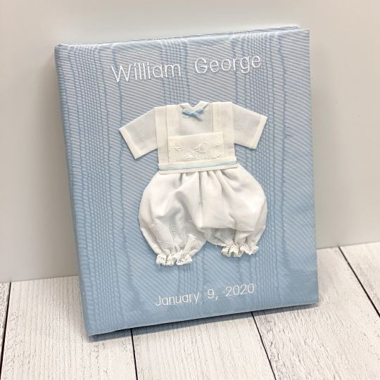 Large-Baby-Photo-Album-AR11-22B-Blue-Block-White-Thread