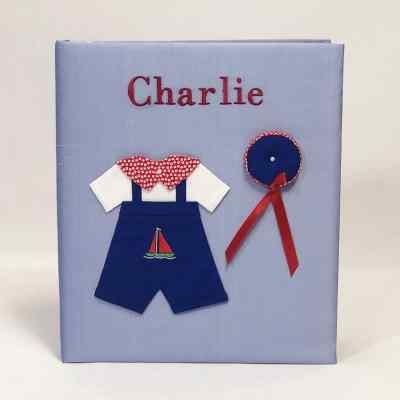 Large-Baby-Photo-Album-AR11-24B-Blue-Bodoni-Red-Thread