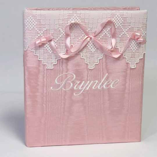Large-Baby-Photo-Album-AR11-37B-Pink-Moire-Ballantines-Font-White-Thread