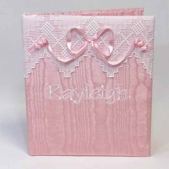 Large-Baby-Photo-Album-AR11-37B-Pink-Moire-Thread-Fun-Font-White-Thread