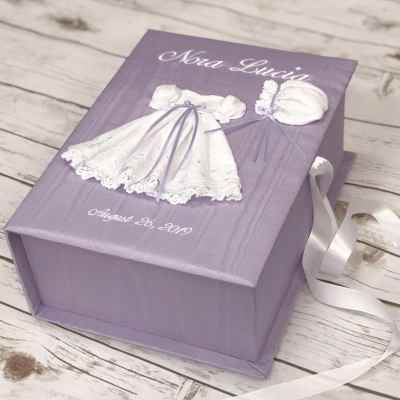 Medium Baby Keepsake Box In Moiré With Swiss Batiste Dress