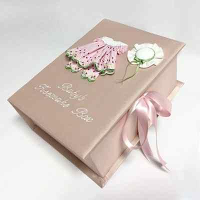 Medium-Baby-Keepsake-Box-B14C-24G-Pink-Silk-Ballantines-Font-White-Thread