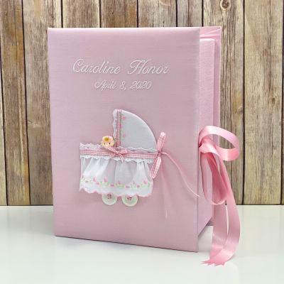 Medium Baby Keepsake Box In Shantung With Swiss Batiste Baby Carriage