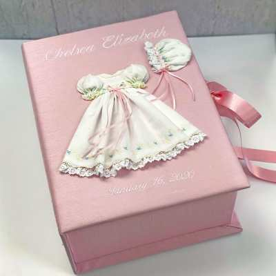 Medium Baby Keepsake Box In Shantung With Swiss Batiste Dress With Flowers