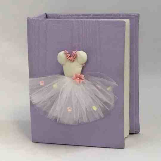 Small Hardbound Photo Album In Moiré With Ballerina Tutu