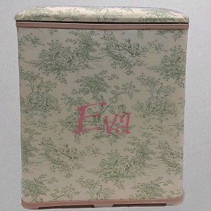 HARM-BG-Celadon-Toile-with-Pink-and-Green-Pinstriped-Cotton-Style-151-Baby-Pink-Thread