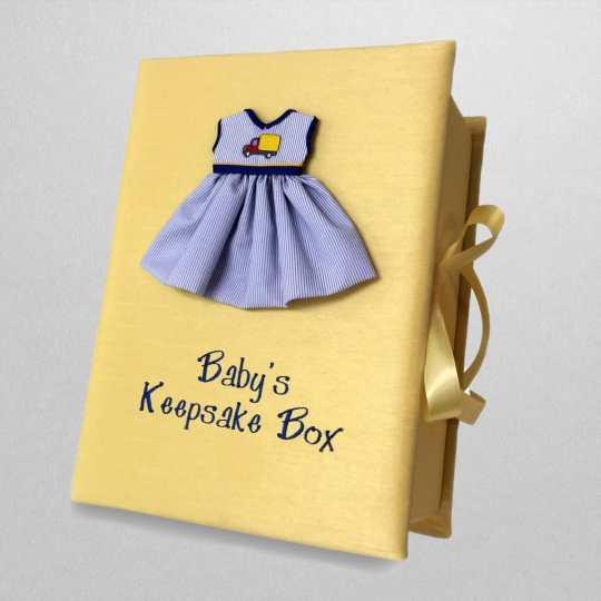 B14C-47G-Yellow-Shantung-Style-151-Dark-Blue-Thread-Babys-Keepsake-Box