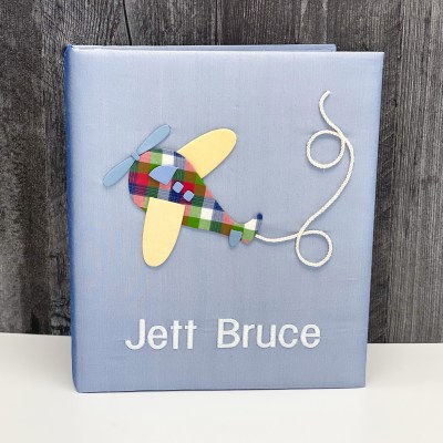 Baby Memory Book In Silk With Airplane