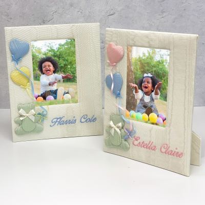 Baby Photo Frame In Moiré With Bear & Balloons