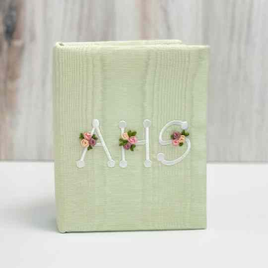Small Baby Hardbound Photo Album In Moiré With Silk Ribbon Flowers