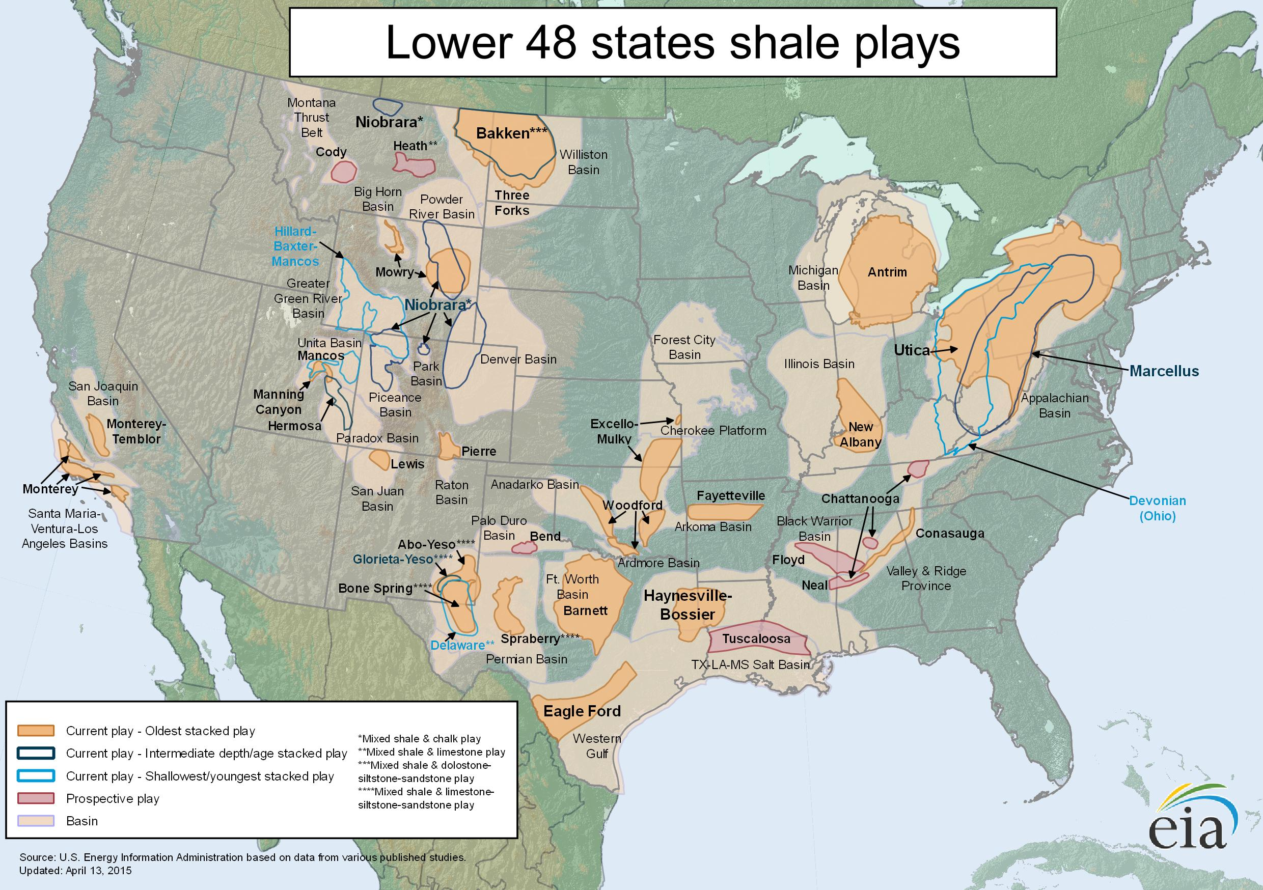 Free Map Eia S Lower 48 States Shale Map Updated