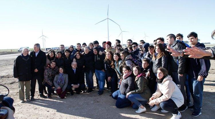 Mindlin y Macri en el Parque Eólico Pampa Energía III.