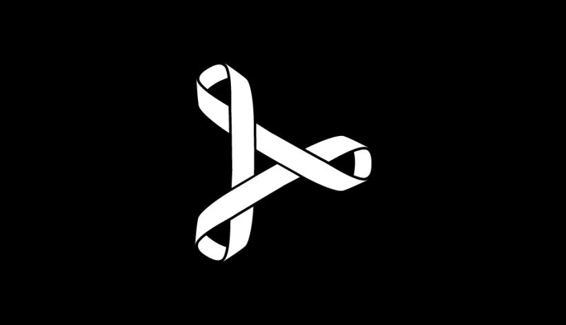 05. Tríada de lazos imbricados en flecha de avance (blanco sobre negro).