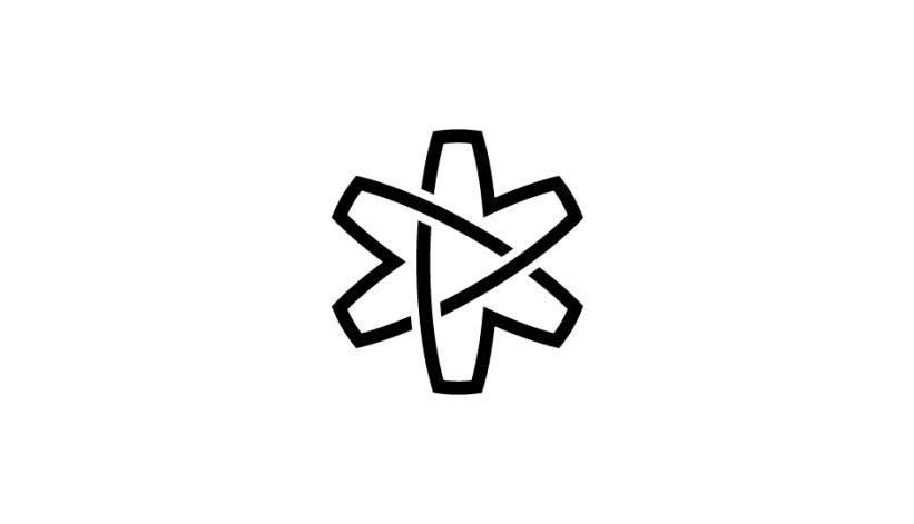 12. Asterisco (flor, átomo, lazos, estrella) en forma de cinta sinfín imbricada (negro sobre blanco).