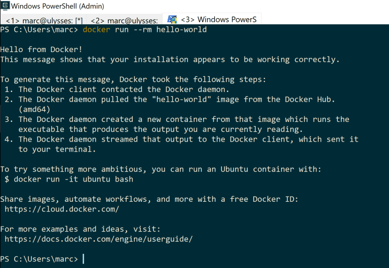 Docker from Powershell