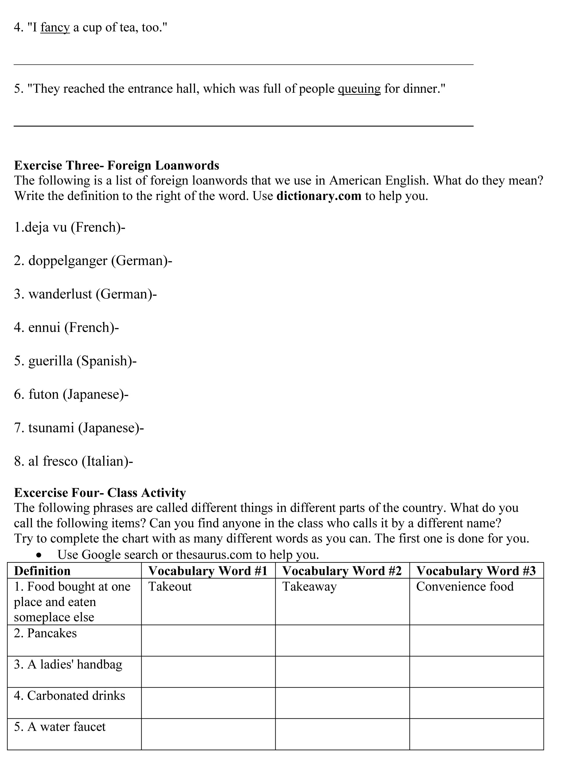 Variation In The English Language Worksheet