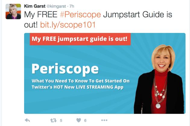 Kim Garst Periscope Tweet