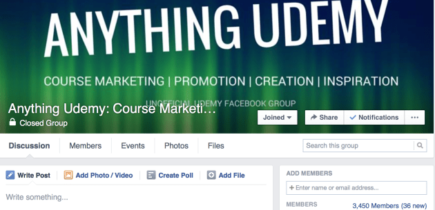 Udemy FB Group Page