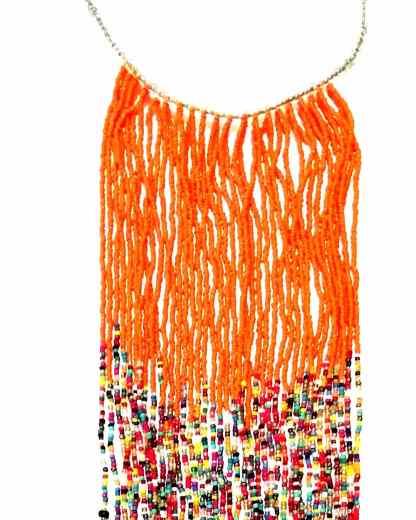 collier ethnique orange long