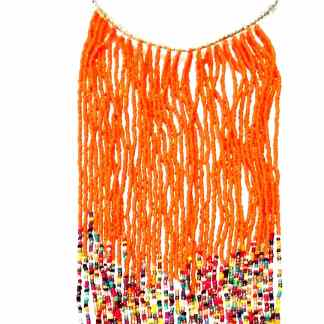 collier ethnique orange long