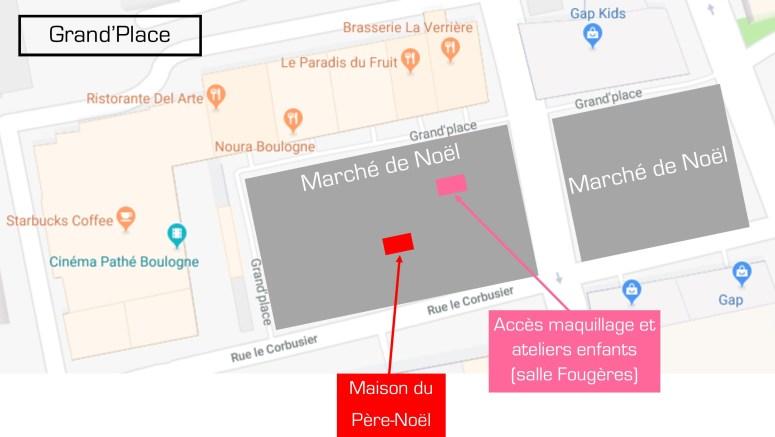 Plan du marché de noël de Boulogne Billancourt