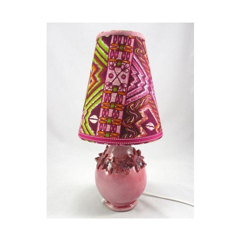 lampe chevet ceramique fleurs roses abat jour tissu africain reve de lampes