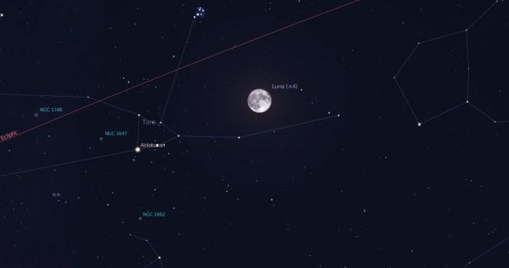 congiunzione luna pleiadi