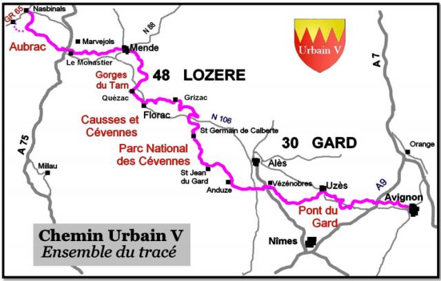 Itinéraire du chemin Urbain V