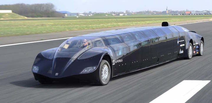 epa02669700 A 'Superbus', developed by former Dutch astronaut Wubbo Ockels and his team, speeds along a landing strip while being tested at the airport Valkenburg in Katwijk, The Netherlands, on 04 April 2011. Ockels and other scientists have worked for years on the development of the fully electric powered bus. The bus has a low aerodynamic resistance and is said to reach a speed of up to 250 kilometers per hour (km/h) with up to 23 people on board. EPA/LEX VAN LIESHOUT