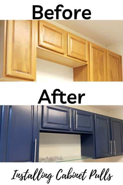 before and after installing cabinet pulls