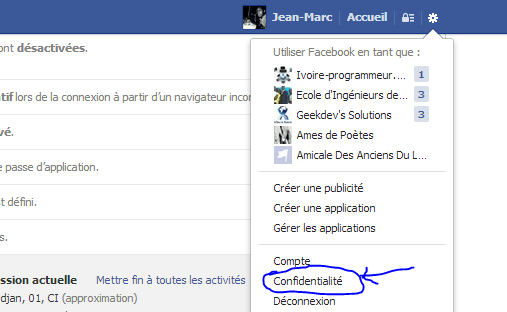 Paramètres Confidentialités Facebook