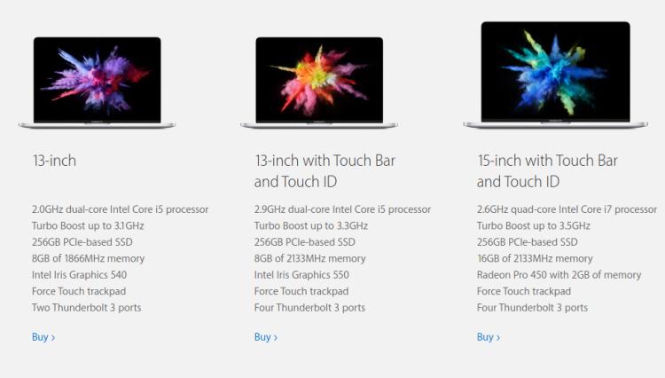 Macbook pro  versions