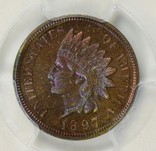 1897 INDIAN CENT PCGS PROOF-66 BROWN