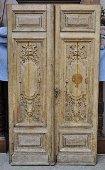 Fireplace Grills Carved Oak Wood Double Door With Grotesque Decor - Doors