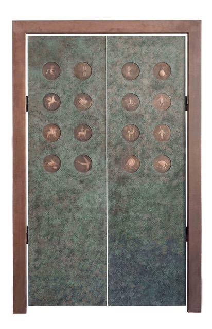 Pforte Die beflügelte fabelhafte Tür der Fabelwesen 2020, Edelstahl /Bronze, 227 x 144