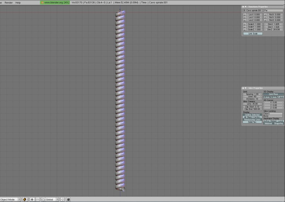 Tutorial: how to model (and render) a realistic spiral cable in Blender (and Yafaray)/1 (5/6)