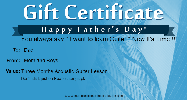 Electric Guitar Lesson Gift Certificate - London Acoustic Guitar Lesson Gift Certificate - London Classical Guitar Lesson Gift Certificate