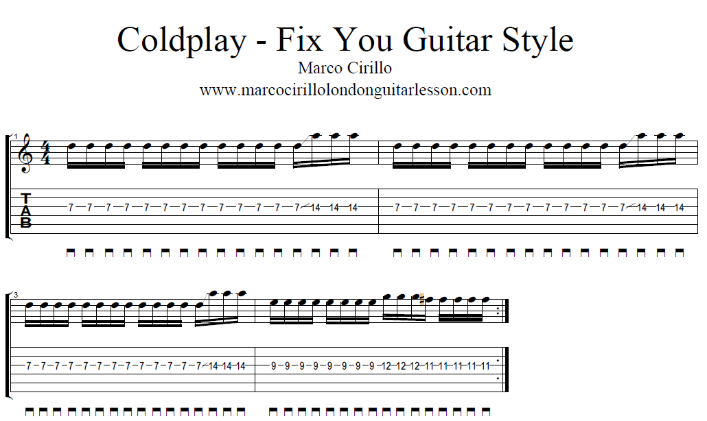 Free Guitar Lesson Online - Coldplay Fix You Guitar Lesson Style - Learn Guitar in London - Marco Cirillo London Guitar Lesson -