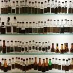 Una parte dell'immensa collezione delle grappe mignon all'interno del Museo della Grappa Poli a Bassano.
