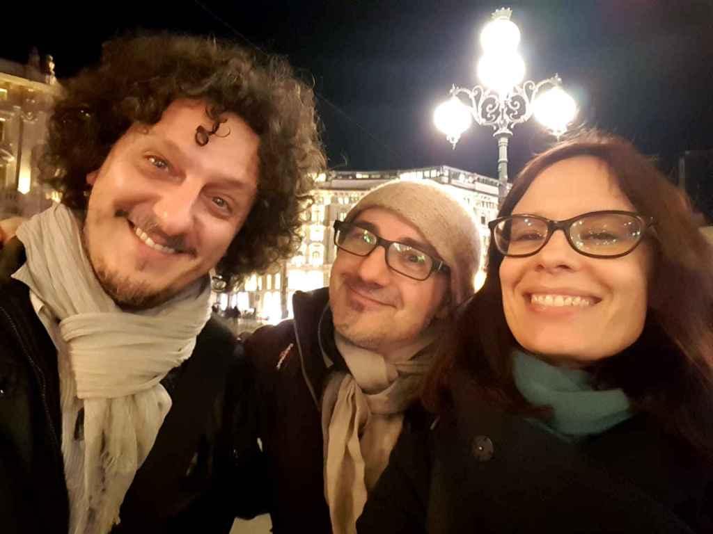 Nuovi amici alla fine della fiera; i giornalisti Antonio Vanzillotta e Sara Rossi