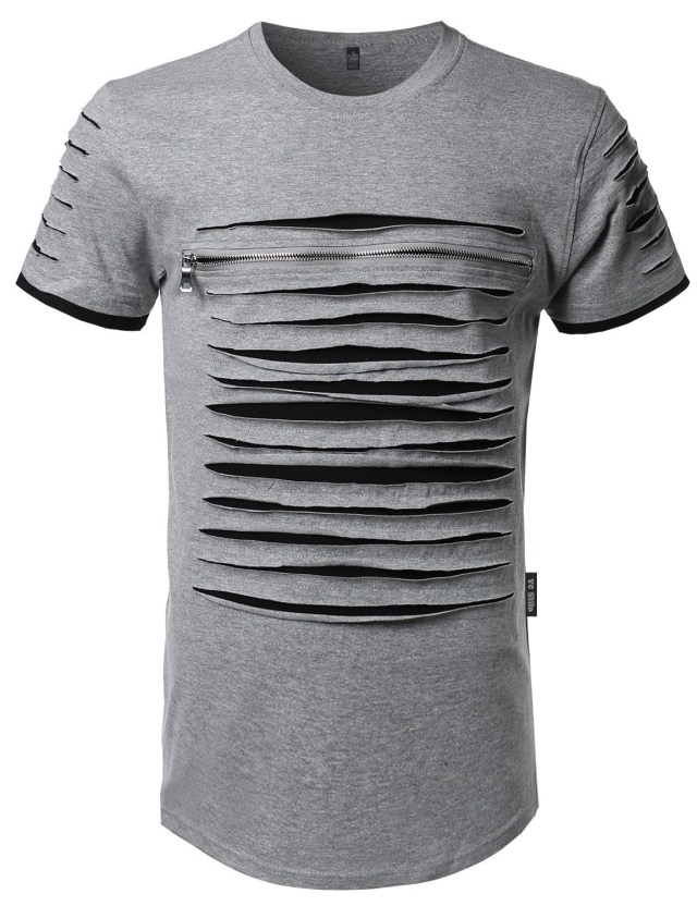 camiseta longline destroyed ripped