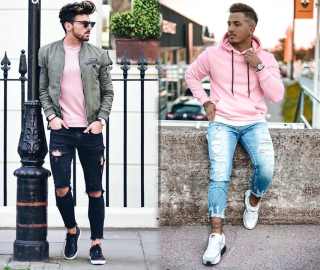 Moda masculina roupas com a cor rosa