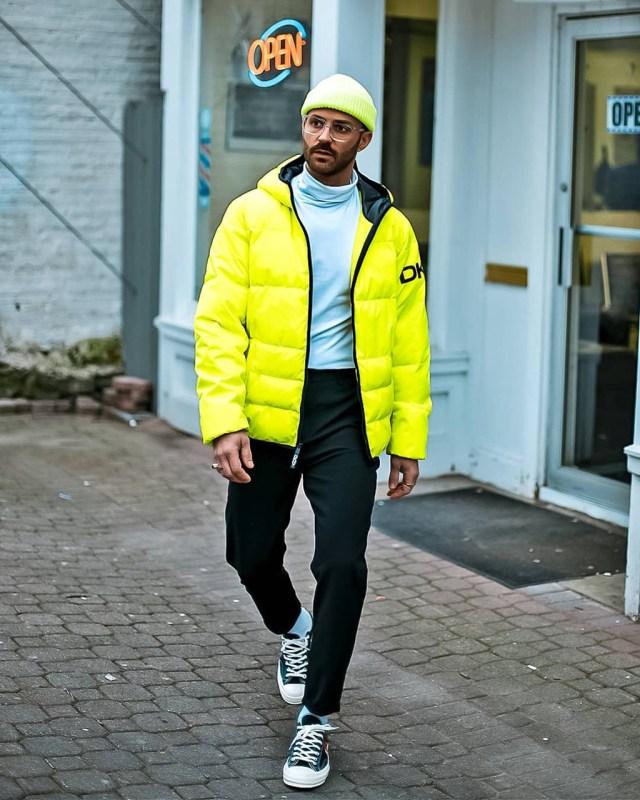 Moda para homens: jaqueta doudoune neon