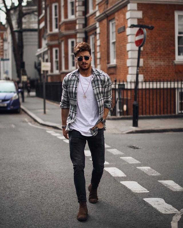 Moda para homens: camisa de flanela xadrez