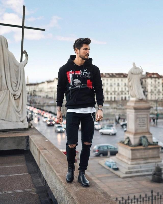 Moda masculina: blusão moletom preto e bota