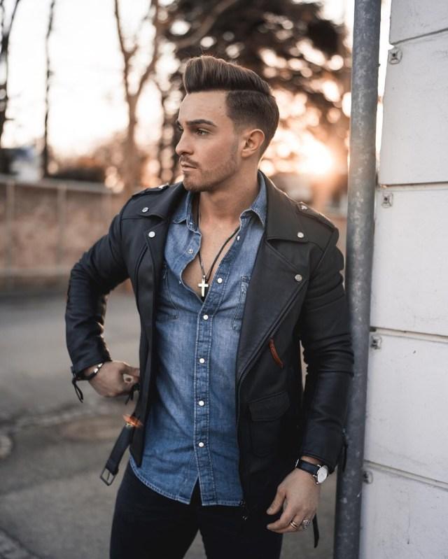 Look masculino com jaqueta de couro