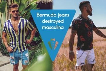 Moda masculina: bermuda jeans destroyed