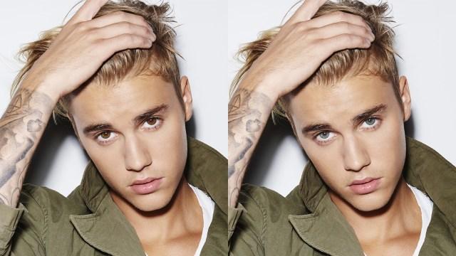 Justin Bieber com os olhos azuis