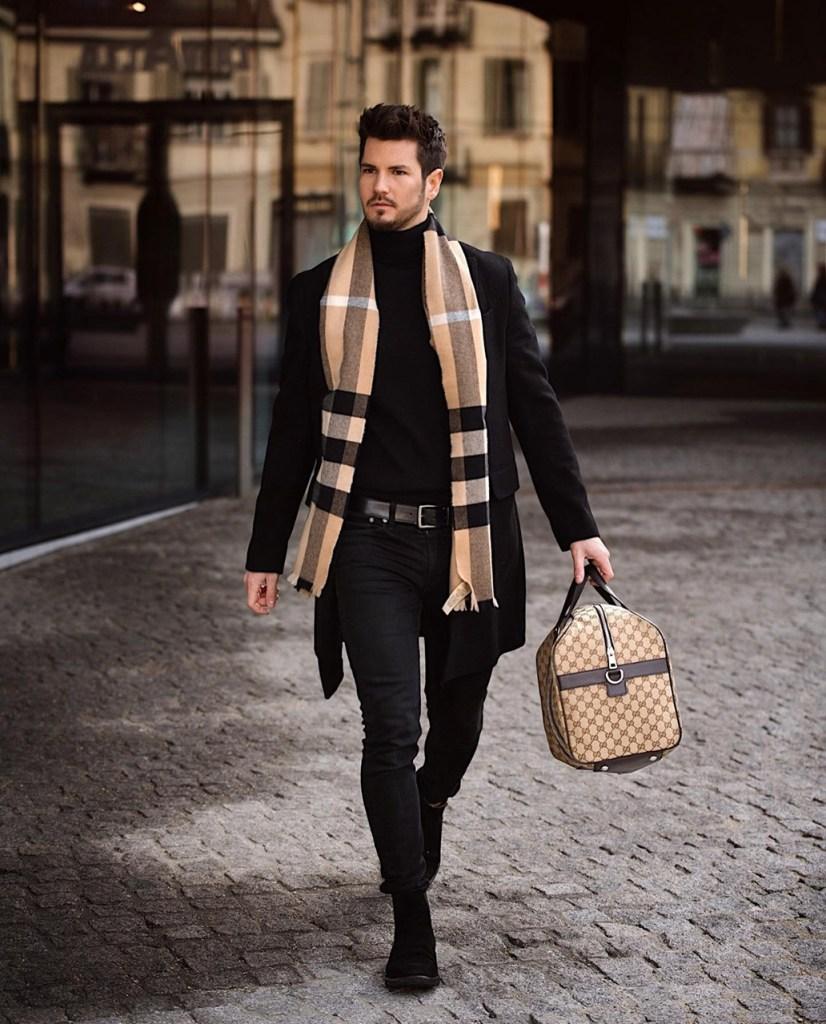 Moda para homens: cachecol xadrez